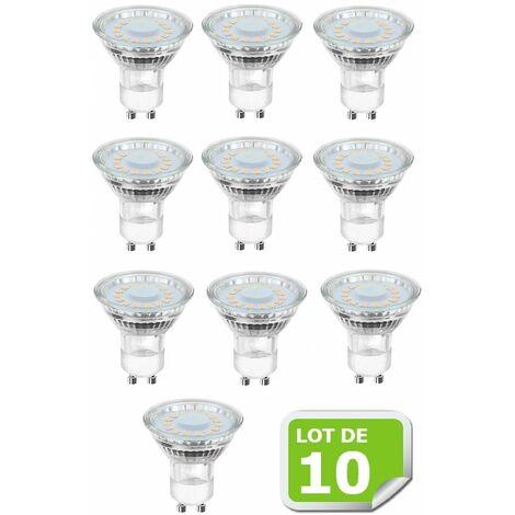 Pack de 10 Ampoules Led GU10 5W Blanc Chaud 3000K eq. 50W Halogène 120° Dimmable