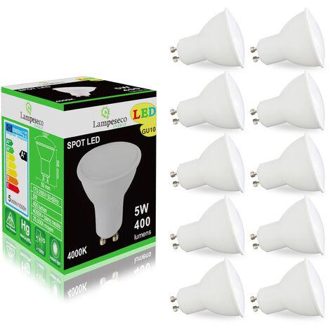 Pack de 10 Ampoules Led GU10 5W Blanc Neutre 4000K eq. 50W Halogène 120°
