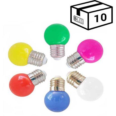 Pack de 10 Bombillas LED E27 1W de un color