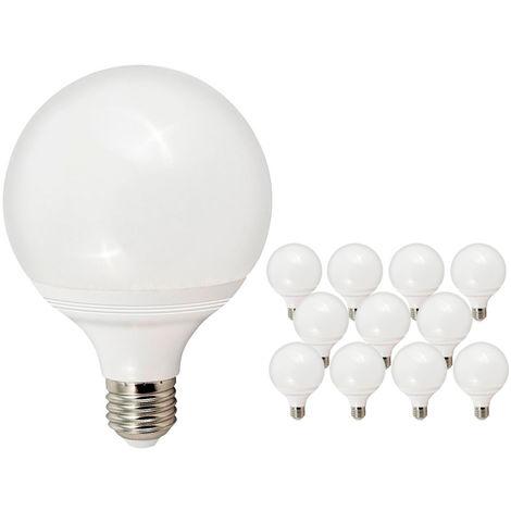 Pack de 10 Bombillas LED E27 Bajo Consumo GIJON G95 12W con 1020 Lm. 6000K Blanco Frío