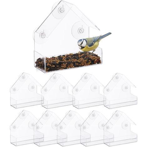 Pack de 10 Comederos Pájaros para Ventana con 3 Ventosas, Cristal Acrílico y PVC, Transparente, 15 x 15 x 7 cm