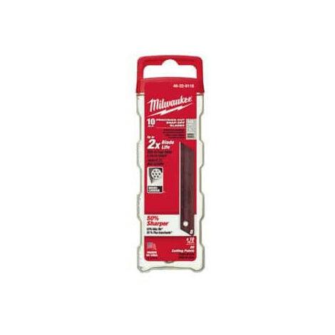 Pack de 10 lames sécables 18 mm pour cutter Metal Lock Milwaukee 48229118