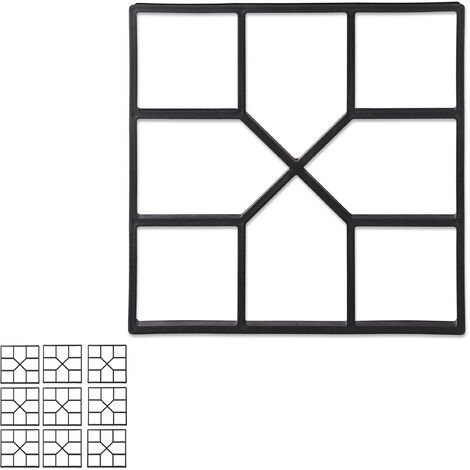Pack de 10 Moldes Hormigón para Pavimentos, Plástico, Negro, 40 x 40 cm