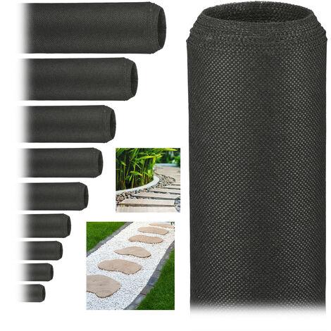 Pack de 10 Rollos de Malla Antihierbas 50 g/m² Permeable y Resistente a los Rayos UV, Polipropileno, Negro, 5 m