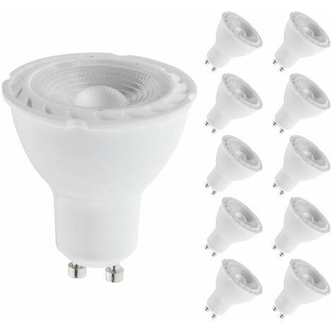 Pack de 10 Spot Led GU10 angle 38° 400 lumens 5 Watt Blanc Chaud