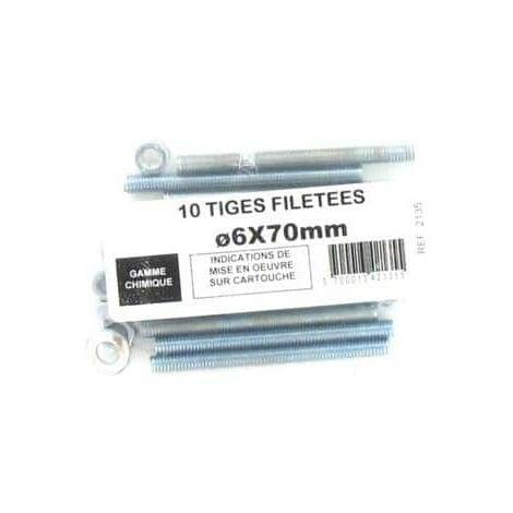 Pack de 10 Tiges Filetées M6 BATIFIX diamètre 6 x 70mm