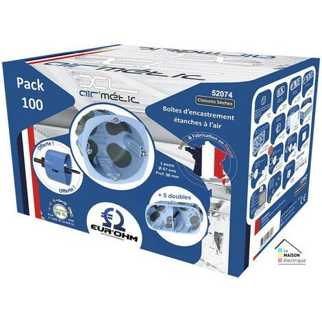 Pack de 100 boîtes d67 p50 avec scie cloche et 5 boîtes doubles (52074)