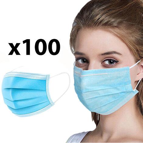 Pack de 100 mascarillas desechables de protección respiratoria en color azul
