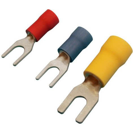 Pack de 100 uds Terminales Fastom horquilla 3.7 mm. para cables de 0.5 a 1.5 mm² Electro DH Color Funda Rojo 10.925/3.7/R 8430552143597