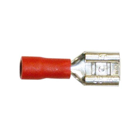 Pack de 100 uds Terminales Faston hembra aislado para cables de 0'5 a 1'5 mm² 6.35 mm Electro DH Color Funda Rojo 10.916/6.3/R 8430552103065
