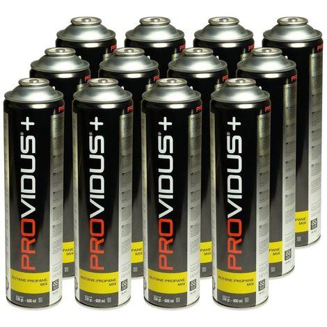 Pack de 12 cartouche gaz 330 gr butane propane mix - bouteille de gaz à valve 600 ml - bonbonne pour désherbeur thermique