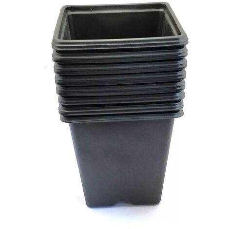 Pack de 15 Godets carrés noir en plastique 9cm