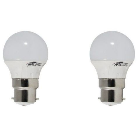 Pack de 2 ampoules led B22 4 watt (eq. 30 watt) - Couleur - Blanc chaud 3000°K
