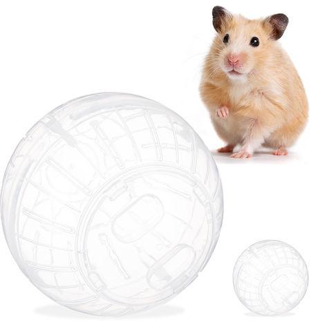 Pack de 2 Bolas Hámster Juguete para Roedores, Plástico Transparente, 14 cm