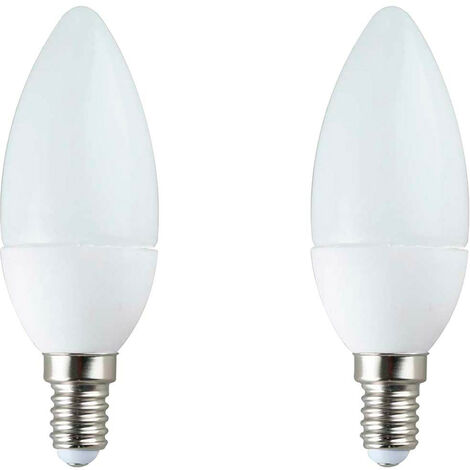 Pack de 2 bombillas LED vela, 6W equivalente a 40W, casquillo E14, 180º, 470 lúmenes, A+