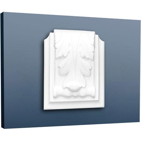 Pack de 2 C307A Modillon ornemental Orac Decor - 9,5x4x7,5cm (h x p x L) - moulure décorative polyuréthane - Conditionnement : Pack 2 pièces