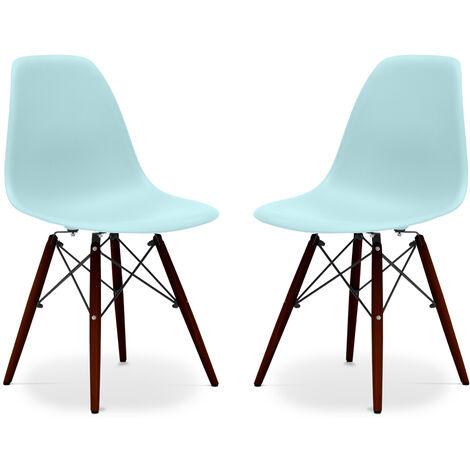 Pack de 2 chaises Deswick Piètement foncé - Mat Turquoise