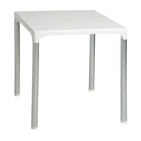 Pack de 2 mesas exterior, aluminio, polipropileno blanco 70x70 cms