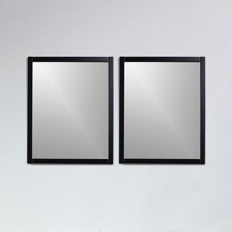 Pack de 2 miroirs rectangulaires NEO 56x70cm avec cadre noir mat - Noir