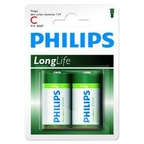 Pack de 2 piles Philips Longlife R14 Baby C (10600214)