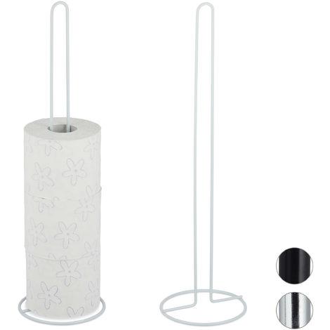 Pack de 2 Portarrollos Baño Pie, Soporte Papel Higiénico de Recambio, 5 Rollos, Metal, 1 Ud., 50x14 cm, Blanco