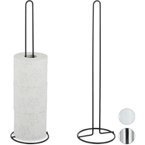 Pack de 2 Portarrollos Baño Pie, Soporte Papel Higiénico de Recambio, 5 Rollos, Metal, 1 Ud., 50x14 cm, Negro