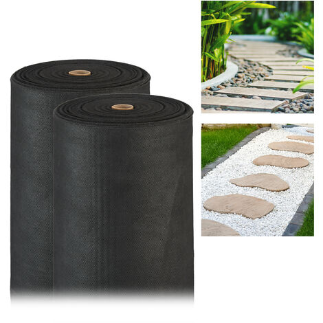 Pack de 2 Rollos Malla Antihierbas 150 g/m² Permeable y Resistente a los Rayos UV, Polipropileno, Negro, 50 m