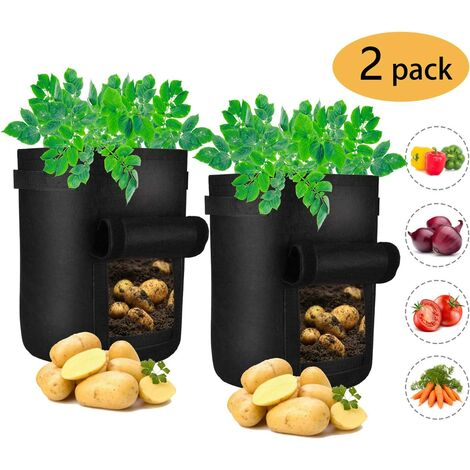 Pack de 2 Sacs pour Culture de Pommes de Terre, Sac pour Plantes de 7 gallons avec fenêtre et poignées, Pots en Tissu Non-tissé pour Pommes de Terre, Carottes et tomates