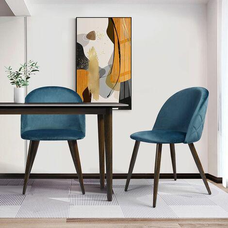 Pack de 2 sillas comedor cocina salon -diseño nordico - azul