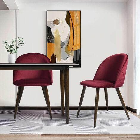 Pack de 2 sillas comedor cocina salon -diseño nordico - rojo/rosa