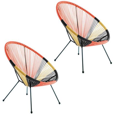 Pack de 2 sillones de jardín Acapulco de rattán y metal multicolor de 73x80x85 cm