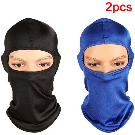 Pack de 2 vélo de plein air casque de moto cou chapeau d'hiver coupe-vent masque facial intégral pour ski / conduite / hors porte sport unisexe noir bleu