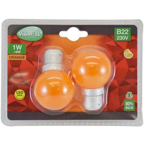 Pack de 2x Ampoules LED B22 1W Couleur