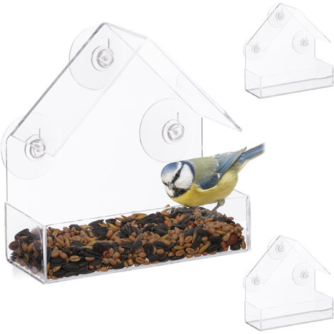 Pack de 3 Comederos Pájaros para Ventana con 3 Ventosas, Cristal Acrílico y PVC, Transparente, 15 x 15 x 7 cm
