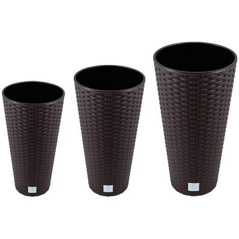 Pack de 3 maceteros altos con deposito Prosperplast Rato Tubus (8/15,5/27 L) en color ocre oscuro