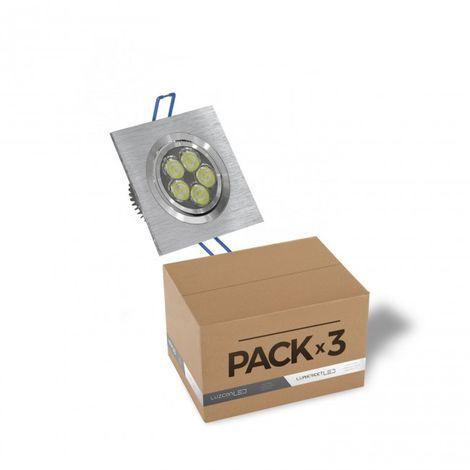 Pack de 3 ojo de Buey LED 6W 6000K cuadrado aluminio cepillado