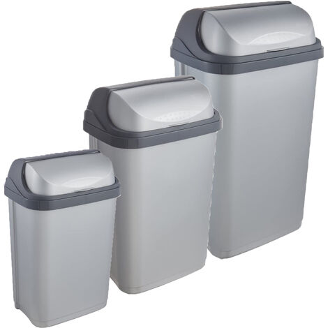 Pack de 3 poubelles Rasmus 10/25/50 litres avec couvercle coulissant en argent