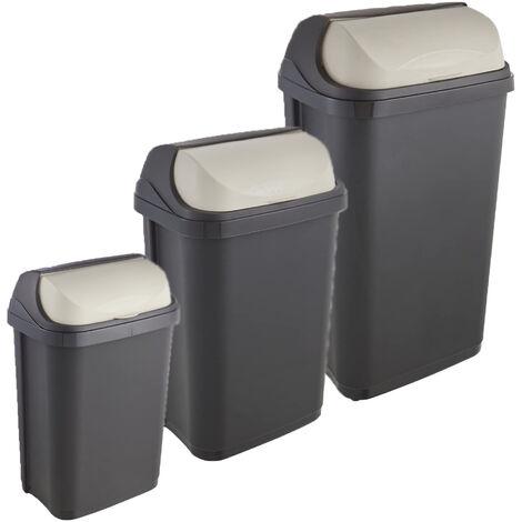 Pack de 3 poubelles Rasmus 10/25/50 litres avec couvercle coulissant en gris graphite