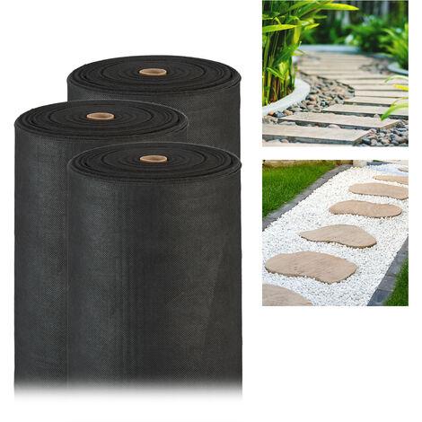 Pack de 3 Rollos Malla Antihierbas 150 g/m² Permeable y Resistente a los Rayos UV, Polipropileno, Negro, 50 m