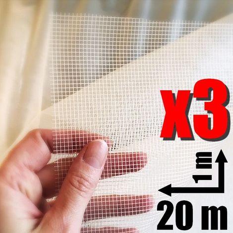 Pack de 3 rouleaux tissus de verre semi épais Fiss Net Professionnel calicot en rouleau 20 m²