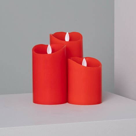 Pack de 3 Velas LED Cera Natural Special Flame Rojo