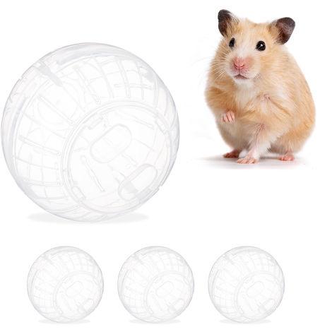 Pack de 4 Bolas Hámster Juguete para Roedores, Plástico Transparente, 14 cm