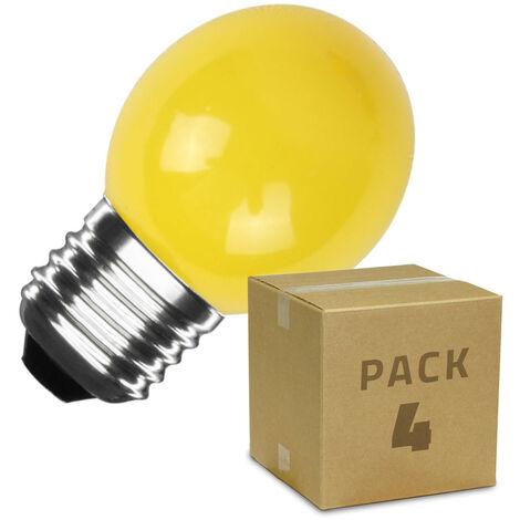 Pack de 4 Bombillas LED E27 Casquillo Gordo G45 3W Amarillo Amarillo - Amarillo