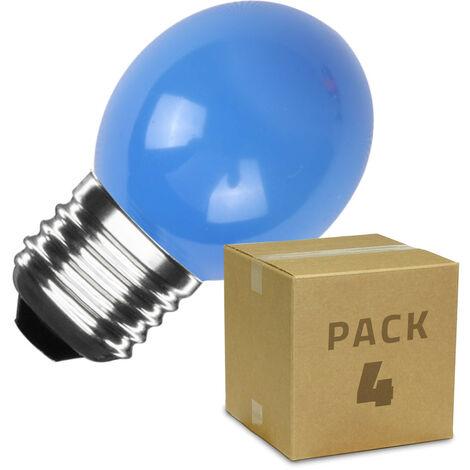 Pack de 4 Bombillas LED E27 Casquillo Gordo G45 3W Azul Azul - Azul