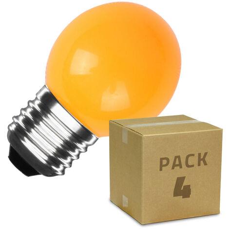 Pack de 4 Bombillas LED E27 Casquillo Gordo G45 3W Naranja Naranja - Naranja