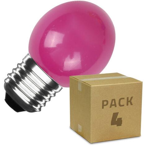 Pack de 4 Bombillas LED E27 Casquillo Gordo G45 3W Rosa Rosa - Rosa