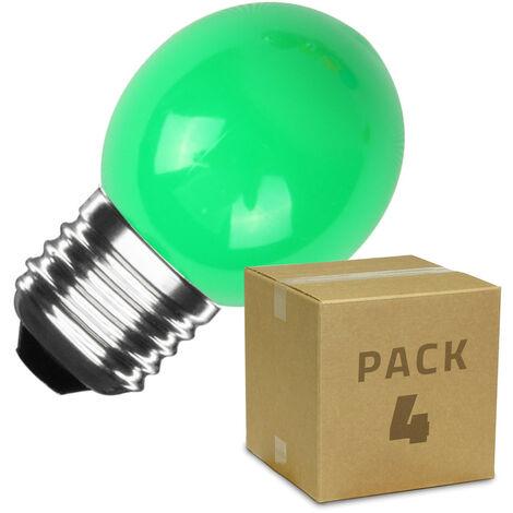 Pack de 4 Bombillas LED E27 Casquillo Gordo G45 3W Verde Verde - Verde