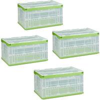 Pack de 4 cajas almacenaje con tapa, Plegables, Cajas organizadoras, Apilable