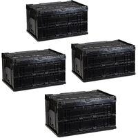 Pack de 4 Cajas de Almacenaje Plegables con Tapa, Plástico, Negro, 32.5 x 58.5 x 39.5 cm