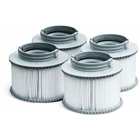 Pack de 4 filtres V1 pour spa MSPA- Camaro, Super Camaro, Alpine 4 et 6, Silver Cloud 4 et 6, Bliss 6 et Mono 6 - 4 Cartouches filtrantes de remplacement pour jacuzzi gonflable mspa